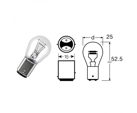 Lampada biluce 12V 5-21W BAY15D