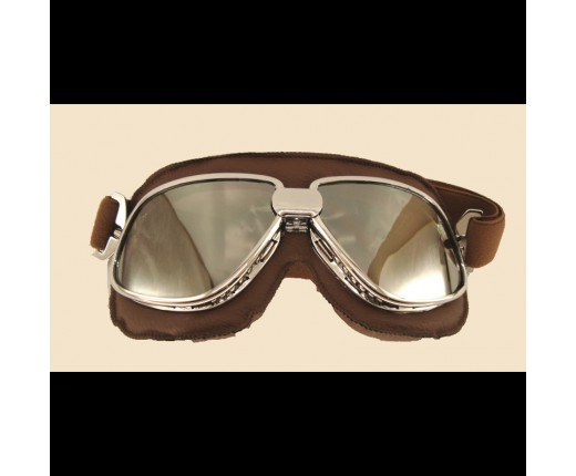 Occhiale moto vintage specchiato ecopel.