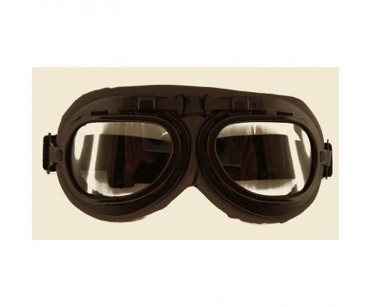 Occhiale moto vintage trasparente ecopel